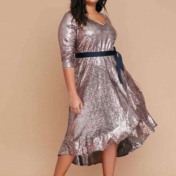 ed175a136b2 CCO price drop! 1x 14 16 Sequin Faux Wrap Dress. NWT. Lane Bryant